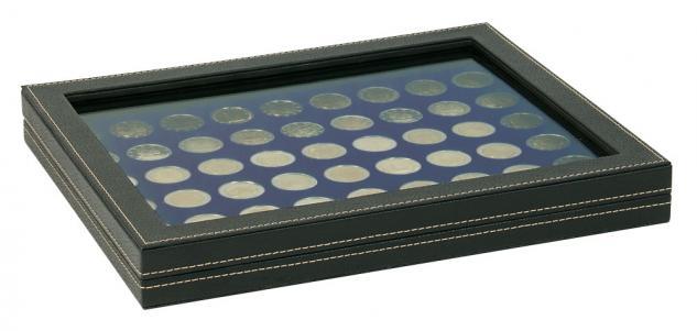 LINDNER 2367-2154ME Nera M PLUS Münzkassetten Standard Einlage Marine Blau mit glasklarem Sichtfenster für 54 x Münzen 25, 75 mm für 2 Euro