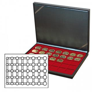 LINDNER 2364-2956E Nera M Münzkassetten Einlage Dunkelrot Rot für 5 komplette Euro Kursmünzensätze KMS 1 Cent - 2 € in Münzkapseln