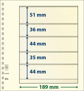 10 x LINDNER 802509P T-Blanko-Blätter Blankoblatt 18-Ring Lochung 5 Taschen 51 / 36 / 44 / 35 / 44 x 189 mm