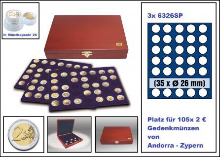 SAFE 5895 Elegance Holz Münzkassetten mahagonifarbend 3 Tableaus 6334SP - 3x 30 runde Fächer Für 90 x 2 Euro Münzen Gedenkmünzen in Münzkapseln 26