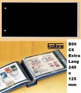 100 x KOBRA G5E Ersatztaschen Ergänzungsblätter glasklar + schwarzem Einsteckblatt 240 x 125 mm DIN C6 Extra Lang Für Briefe - FDC 'S Postkarten Ansichtskarten Banknoten Geldscheine