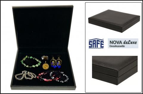 SAFE 63200 NOVA deluxe Schmuckkassette Lefa design schwarz ca. 245x200x35mm Für Schmuck Ringe Ketten Armreifen Uhren Krawattennadeln Ohrringe
