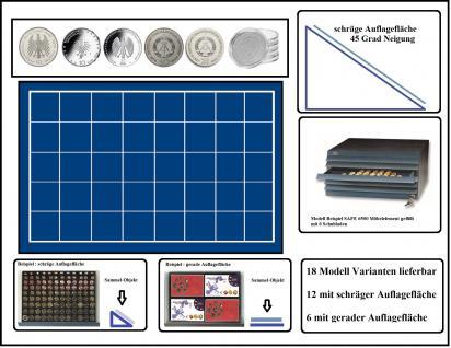 SAFE 6538 Schubladen für SAFE 6500 mit schräger Auflagefläche blaue Einlage 40 eckige Fächer 38 mm - Ideal für 10 DM & 10 - 20 Mark DDR & Deutsche 10 - 20 Euro Münzen in Münzkapseln