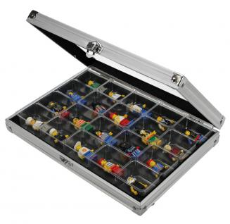 SAFE 5617 ALU Sammelvitrinen Vitrinen Setzkasten Compact mit 20 Fächern 36 x 49 x 40 mm Maße 295 x 203 x 45 mm Für Lego Mini Figuren
