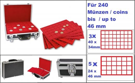SAFE 269-9 ALU Münzkoffer XXL STANDARD MIXED mit 8 roten Münztableaus für 240 Münzen bis 46 mm