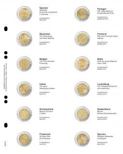 1 x LINDNER MU2E7 Multi Collect Münzblätter Münzhüllen Vordruckblatt 2 Euro Gedenkmünzen Spanien März 2011 - Spanien März 2012
