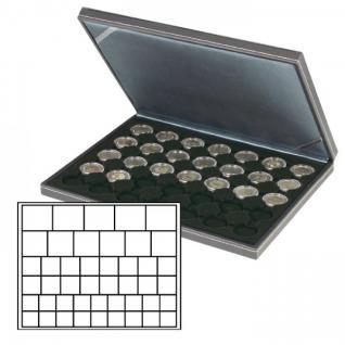 LINDNER 2364-2145CE Nera M Münzkassetten Carbo Schwarz Mixed für 45 x Münzen - 24, 28, 39, 44 mm die Starter Box