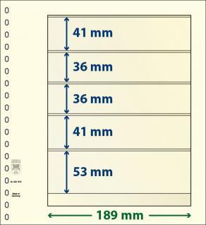 10x LINDNER 802502P T-Blanko-Blätter Blankoblatt 18-Ring Lochung 5 Taschen 41 / 36 / 36 / 41 / 53 x 189 mm