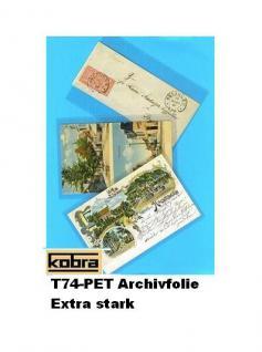 """100 KOBRA T74-PET Postkartenhüllen Schutzhüllen Hüllen """" Archivfolie PET """" altes Format Postkarten Ansichtskarten Banknoten 95 x 147 mm"""