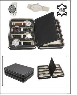 """SAFE 0013 Reiseetui Uhren Etui Schatulle Reisebox """" TRIO """" in matt schwarz für 3 Armbanduhren Uhrenetui Uhrenbox - Vorschau 2"""