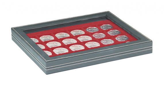LINDNER 2367-2724E Nera M PLUS Münzkassetten Einlage Dunkelrot Rot mit glasklarem Sichtfenster 20 Fächer für Münzen bis 41x 41 mm - 1 Dollar US Silver Eagle $