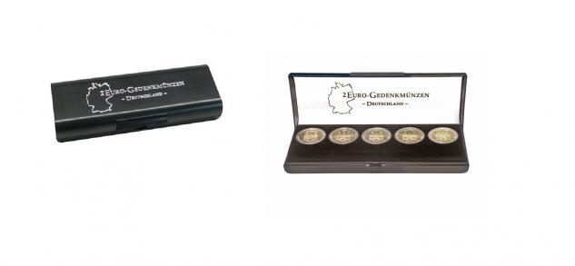 LINDNER S2090 Universal Münzetui 5 x 2 Euro Münzen Deutschland Deutsche Bundesländer 2006 - 2021