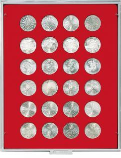 LINDNER 2110 MÜNZBOXEN Münzbox Standard Grau 24 x 32, 5 mm Ø 10 DM 10 - 20 EUROMÜNZEN