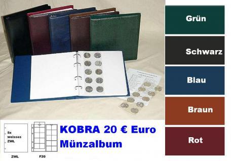 KOBRA FZ-SO Duneklblau - Blau Münzalbum 20 € Euro Münzen + 5 x Münzblättern F20 + ZWL erweiterbar bis 200 Münzen Für 20 Euro Gedenkmünzen