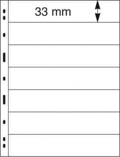 5 x LINDNER 077 UNIPLATE Blätter, schwarz 7 Streifen / Taschen 33 x 194 mm Für Briefmarken - Vorschau 2