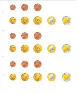 10 KOBRA FZW24 Vordruckblätter Zwischenblätter ZWL Für 3 komplette Euro KMS Kursmünzensätze von Andorra - Zypern