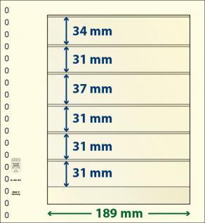 10 x LINDNER 802601P T-Blanko-Blätter Blankoblatt 18-Ring Lochung 6 Taschen 34 / 31 / 37 / 31 / 31 / 31 x 189 mm