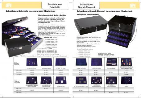SAFE 5659-3 Schwarze Schubladen dreifach tief 49 mm blaue Einlage für 36 Ringe aller Art zum stecken - Vorschau 5