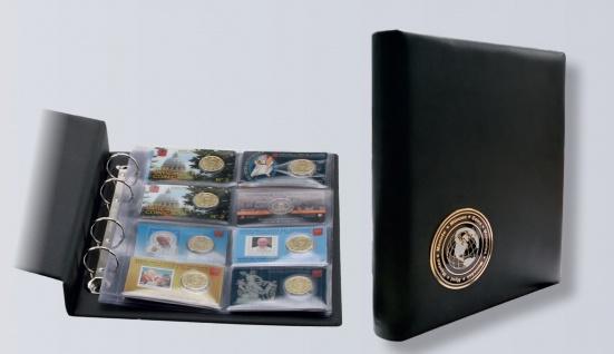 """SAFE 7571 Schwarzes Leder Münzalbum """"World Coin-Cards"""" mit 3D Plakette World-Coins + 5x 7564 Blätter für 40 Coincards"""