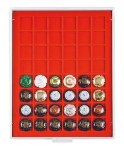 LINDNER 2148F Standard Grau Champagner Kapselbox Deckel Champagnerdeckel Sammelbox für 48 Kapseln