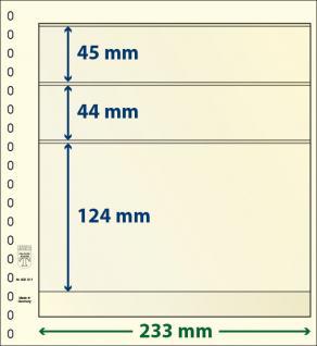 10 x LINDNER 802311P T-Blanko-Blätter Blankoblatt 18-Ring Lochung - 3 Taschen 45 / 44 / 124 x 233 mm