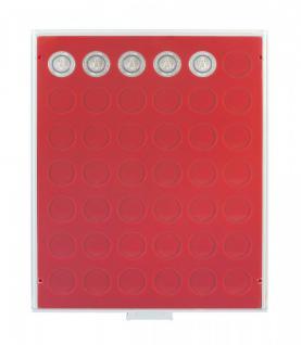LINDNER 2107 MÜNZBOXEN Münzbox Standard für 42 Münzen 27, 5 mm Ø 2 CHF - 50 ÖS - 5 Euro Blauer Planet