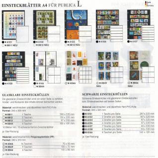 10 x LINDNER 4108 Einsteckhüllen Ergänzungsblätter Publica L A4 8 Taschen / Streifen schwarz 33 x 220 mm Für Briefmarken - Vorschau 3