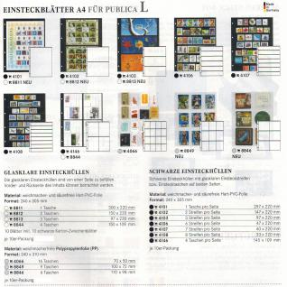 10 x LINDNER 8813 Einsteckhüllen Ergänzungsblätter Publica L A4 3 Taschen glasklar 97 x 220 mm Für Banknoten - Briefmarken - Briefe - Fotos - Bilder - Urkunden - Vorschau 2