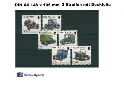 100 x SAFE 7029 DIN A6 Einsteckkarten Steckkarten Klemmkarten 3 Streifen + Schutzfolie für Briefmarken Banknoten Briefe Postkarten Fotos - Vorschau 1