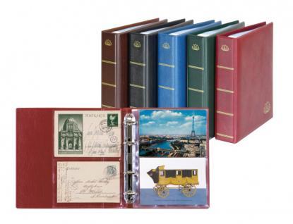 Lindner 5800-W Postkartenalbum Lotos Weinrot Rot + 50 Klarsichthüllen 5801 für bis zu 200 Postkarten - Ansichtskarten - Banknoten - Briefe - Belege