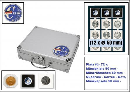 SAFE 279-7 ALU Münzkoffer SMART Deutschland 3D Plakette + 6x 6350 Tableaus mit 12 eckingen Fächern 50x50 mm Für 72 Münzen Ideal für Münzrähmchen - Quadratischen Octo - Carree - Quadrum Münzkapseln