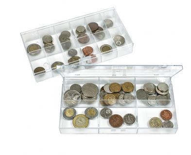 LINDNER 4821 Stapelbare Kunststoff Sammelbox glasklar 195 x 100 x 30 mm mit 6 Fächern 63x48x28 mm für Mineralien Fossilien Münzen Ü Ei Figuren Lego Figuren - Vorschau 5