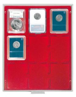 LINDNER 2219 MÜNZBOXEN Münzbox Standard 9 x Münzen 64 x 86 mm Original US Münzen Slabs Münzkapseln