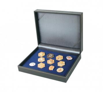 LINDNER 2368-2419E NERA VARIUS Sammelkassetten mit Blauer Samteinlage ohne Facheinteilung Für Militaria Pins Orden Anstecknadel