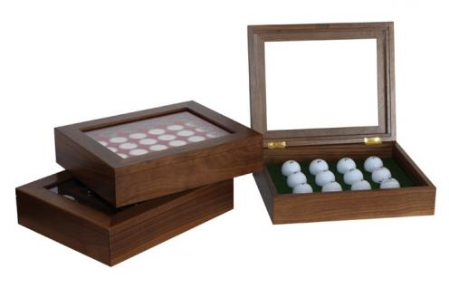 """Lindner 2443 Luxus Echtholz Holzvitrine """" Golfbälle """" mit Sichtfenster für 12 Golfbälle"""