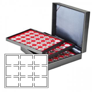LINDNER 2365-2219E Nera XL Münzkassetten Hellrot Rot für 27 x original US Slabs Münzkapseln 64 x 86 mm