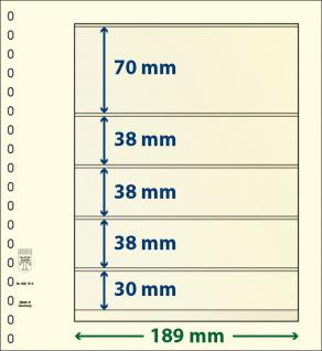 1 x LINDNER 802514 T-Blanko-Blätter Blankoblatt 18-Ring Lochung 5 Taschen 70 / 38 / 38 / 38 / 30 x 189 mm