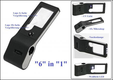 SAFE 4651 Profi Taschenlupe Multifunktions Lupe Lampe 6 in 1 - 3x 10x fache Vergrößerung.+ LED + UV Licht + Mikroskop 15x + Taschenlampe + Batterien + Schutztasche