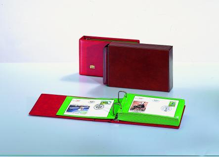 SAFE 877-1 Album Ringbinder Weinrot - Rot + 20x glasklar transparente Blätter Für Briefe, FDC's, Banknoten, Postkarten