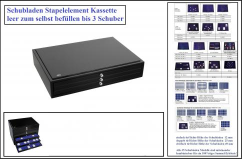 SAFE 6591 Schubladen Stapelelement Schatulle Classic KABINETT Sammelkassette schwarzer Klavierlack Optik leer Ideal für Mineralien - Schmuck - Münzen - Edelsteine - Muscheln - Bernstein - Militaria