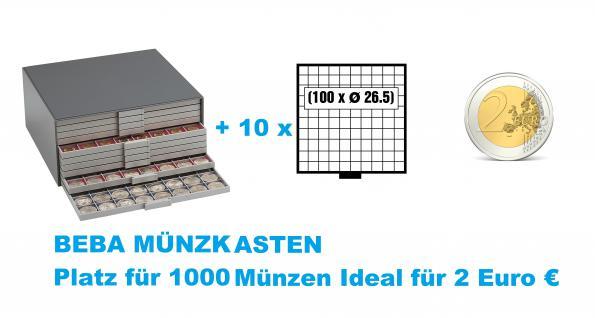 SAFE 6157 Beba Münzkasten mit 10 Schubern 6110 Platz für 1000 Münzen bis 26, 5 mm - Ideal für 2 Euromünzen Gedenkmünzen Sondermünzen