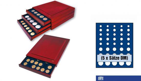 SAFE 6844 Nova Exquisite Holz Münzboxen Schubladenelement Für 5 x DM Kursmünzensätze KMS 1, 2, 5, 10, 50 Pfennig 1, 2, 5 DM