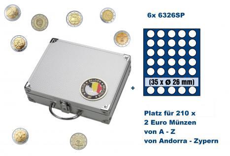 SAFE 239 - 6326 ALU Länder Münzkoffer SMART Belgien / Belgique / Belgie / Belgium mit 6 Tableaus 6326SP Für 210 2 Euro Gedenkmünzen von Andorra über Belgien bis Zypern