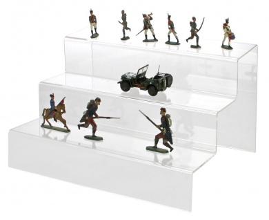 SAFE 5265 ACRYL Präsentations-Treppen Deko Aufsteller 3 Stufen Für Militaria - Orden - Modellbau Linoliumsoldaten - Zinnsoldaten -