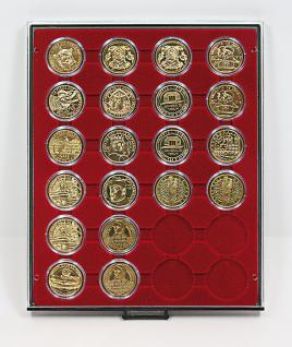 LINDNER 2624 Münzbox Münzboxen Rauchglas 24 x 41 mm Münzen in Münzkapseln