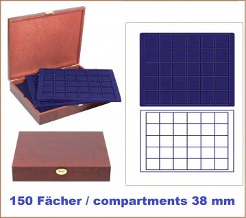 LINDNER S2495-S2115ME Echtholz Holz Münzkassetten 5 blaue Tableaus 2115CE für 150 Münzen bis 38 mm Ideal für 10 & 20 Euro Gedenkmünzen in original Münzkapseln 32, 5 PP randlos