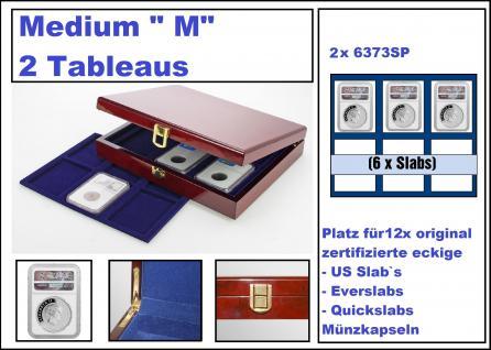 """SAFE 3529 Premium WURZELHOLZ Münzkassetten Medium """" M """" US SLAB 12 mit 2 Tableaus 6373 Für 12 x original zertifizierte US Slab & Everslab & Quicklab Münzkapseln"""