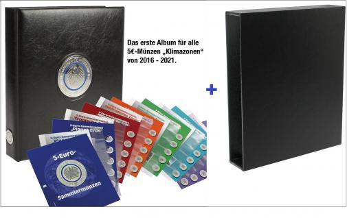 SAFE 7360B PREMIUM Münzalbum Deutsche 5 Euro Münzen Blauer Planet Erde Gedenkmünzen 2016 - 2017 - 2018 - 2019 - 2020 - 2021 + Schutzkassette in schwarz