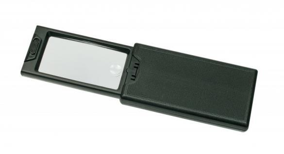 Lindner S7134 LED Taschen-Leuchtlupen Schiebelupe 2, 5x fache Vergößerung mit UV - LED Taschenlampe - Vorschau 1