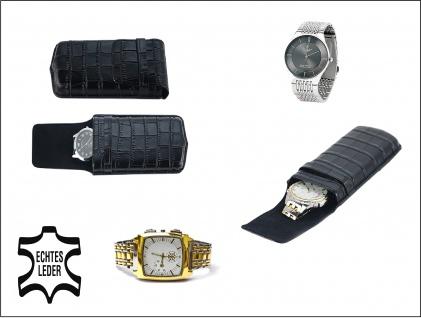 SAFE 253 Braunes Leder Reiseetui Uhren Etui UNO Reisebox für Armbanduhren Uhrenetui Uhrenbox in Kroko Optik - Vorschau 2